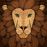 Lion head with henna tattoo elements Stock Images