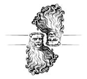 Lion head icon. In engraving style Stock Images