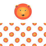 Lion Head Icon And Pattern Images stock