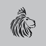 Lion head illustration with a crown just outlines Stock Photography
