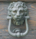 Lion head knocker on an old wooden door Stock Photography