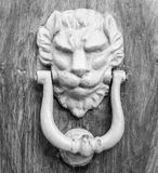 Lion head knocker on an old wooden door. In Florence,Tuscany, Italy black and white stock images