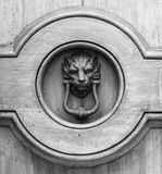 Lion head knocker on an old wooden door in Tuscany. Lion head knocker on an old wooden door in Tuscany – Italy, black and white royalty free stock images