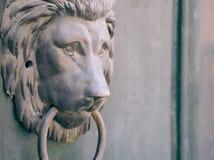 Lion Head Knocker. Traditional Old Bronze Lion Head Knocker Closeup royalty free stock image