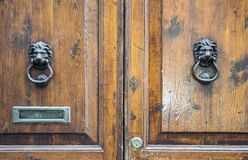 Lion head knockers on an old wooden door Stock Photography