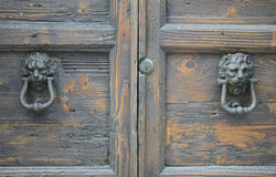 Lion head knockers on an old wooden door Stock Photo