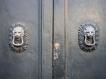 Lion head knockers on an old wooden door. royalty free stock photos