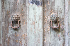 Lion head knockers on an old wooden door in Tuscany. Lion head knockers on an old wooden door in Tuscany – Italy, black and white stock photography
