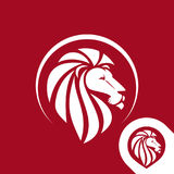 Lion head logo emblem or icon in one color. Stock Photography