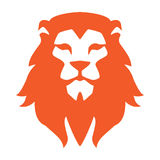 Lion head logo or icon in one color. Vector illustration. Stock Photography