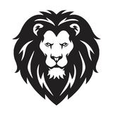 Lion Head Logo, Sign, Vector Black and White Design