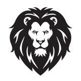 Lion Head Logo, signe, dirigent la conception noire et blanche illustration de vecteur