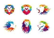 Lion Head Logo Symbol creativo variopinto Immagini Stock Libere da Diritti