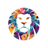 Lion head  logo template creative illustration Animal wild cat face graphic sign Pride strong power Royalty Free Stock Image