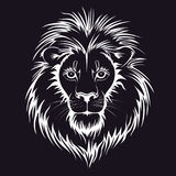 Lion Head Logo Vectordieillustratie, op zwarte achtergrond wordt geïsoleerd Stock Foto's