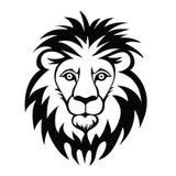 Lion Head Logo Vectorillustratie, die op witte achtergrond wordt geïsoleerd Stock Foto's