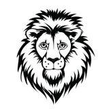 Lion Head Logo Vectorillustratie, die op witte achtergrond wordt geïsoleerd Stock Afbeeldingen