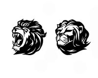 Lion head. Logotype of  template. Creative illustration. Animal. Wild lion face graphic sign. Pride, strong and power concept . Design element Royalty Free Stock Images