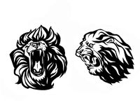 Lion head. Logotype of  template. Creative illustration. Animal. Wild lion face graphic sign. Pride, strong and power concept . Design element Stock Photos