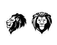 Lion head. Logotype of vector template. Creative illustration. Animal. Wild lion face graphic sign. Pride, strong and power concept . Design element Royalty Free Stock Image