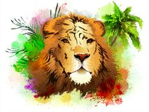 The head of a lion on the background of palm trees. stock images