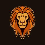 Lion head with mane. Lion vector mascot stock images
