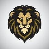 Lion Head Mascot Retro Logo-Ontwerp Vectorart. Stock Afbeeldingen