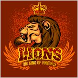 Lion head mascot - vector illustration for sport. Team and t-shirt Stock Image