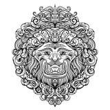 Lion Head met abstract ornament Het uitstekende ontwerp van de tatoegeringskunst, kaart, druk, t-shirt, prentbriefkaar, affiche Royalty-vrije Stock Afbeeldingen