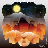 Lion head with mountains and night sky with moon, stars Royalty Free Stock Photo