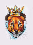 Lion head painted on white paper Royalty Free Stock Photography