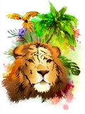 Lion head and parrot on a rainbow of paint drops. royalty free stock photos