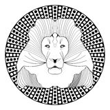 Lion head, patterned symmetric animal drawing Royalty Free Stock Photo