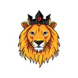 Lion head`s logo wearing crown stock illustration