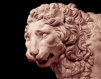 Lion head sculpture isolated. White lion head sculpture isolated on black stock image