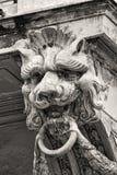 Lion head. Sculpture on an old building Stock Photos