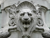 Lion Head in a Sculpture. This lion head is part of a sculptural group in tribute to Carlos Pellegrini, former president of Argentina between 1890-1892. The Stock Photography