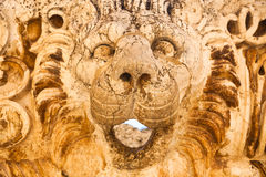 Lion head sculpture at rancient Roman Empire ruins in Baalbeck in Lebanon Stock Image