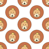 Lion head seamless pattern. Cute animal vector background. Stock Photos
