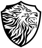 Lion head in shield shape. Line art lion head in shield shape image Royalty Free Stock Photography