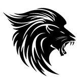 Lion head side view design. Lion head side view tribal design - black and white vector animal Royalty Free Stock Photo