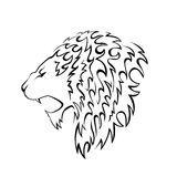 Lion head silhouette Royalty Free Stock Image