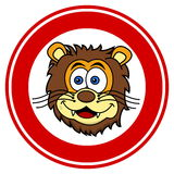 Lion head smiling in signaling panel Royalty Free Stock Photos