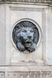 Lion. Head Spitting Water Old Europe Fountain Stock Photo
