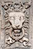 Lion head stone carving Royalty Free Stock Photography