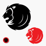 Lion head symbol. Vector illustration of lion head in black and red color Stock Illustration