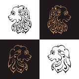 Lion head tattoo or logo. Vector illustration Stock Image