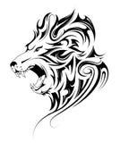 Lion head tribal tattoo. Lion head tattoo in tribal art style Stock Photo