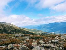 Lion Head trail mountain range summer view. Lion Head trail mountain range view in summer on the Mt. Washington in the White Mountains of New Hampshire United royalty free stock image
