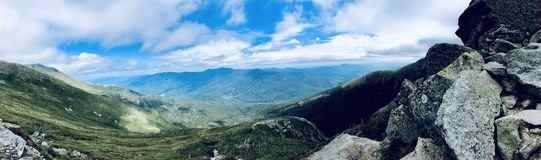 Lion Head trail mountain range summer view. Lion Head trail mountain range view in summer on the Mt. Washington in the White Mountains of New Hampshire United royalty free stock images